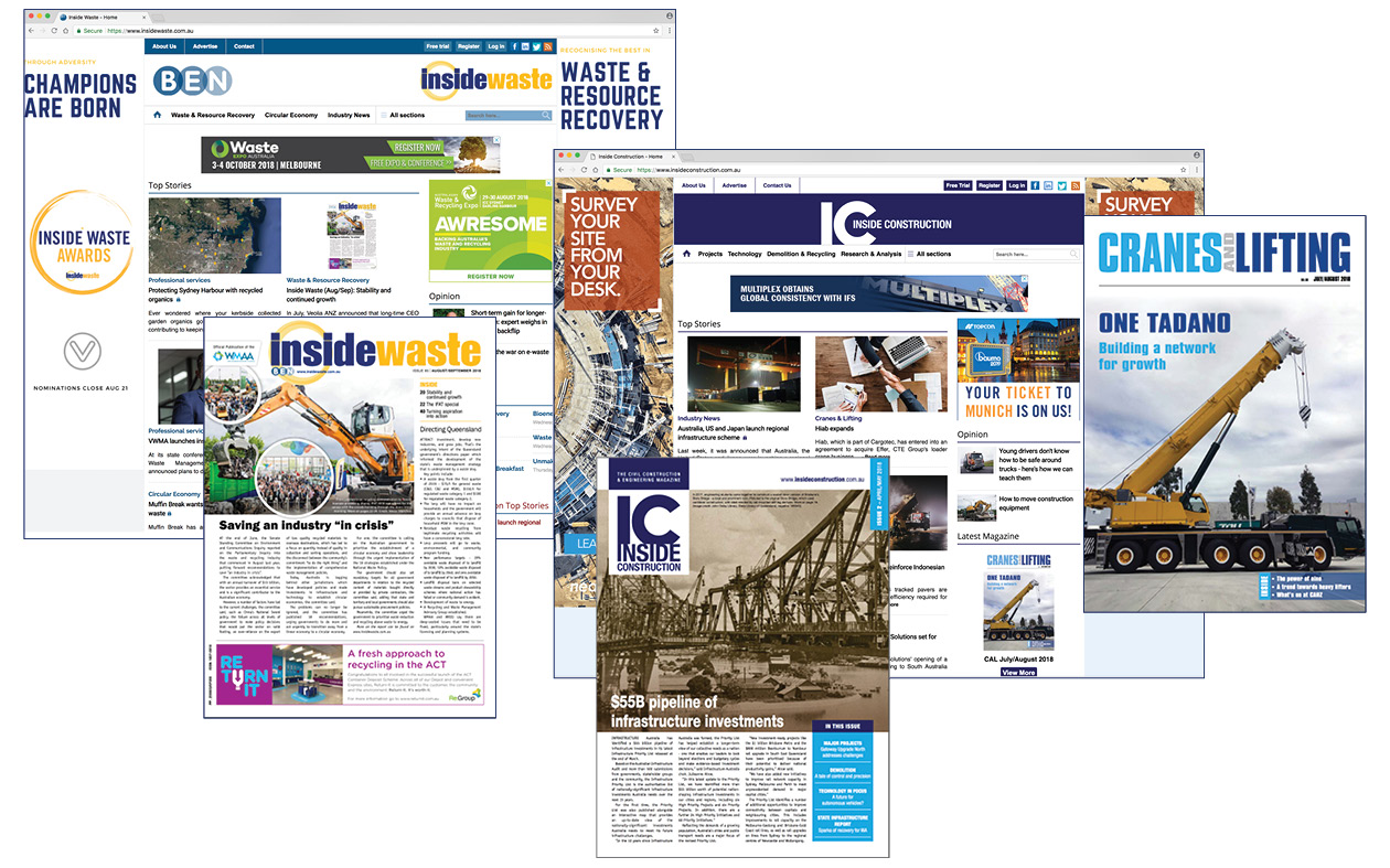 Inside Waste, Cranes & Lifting and Inside Construction magazines.